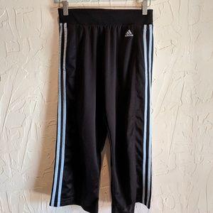 Vintage Adidas Capri Track Pants With Blue Stripes
